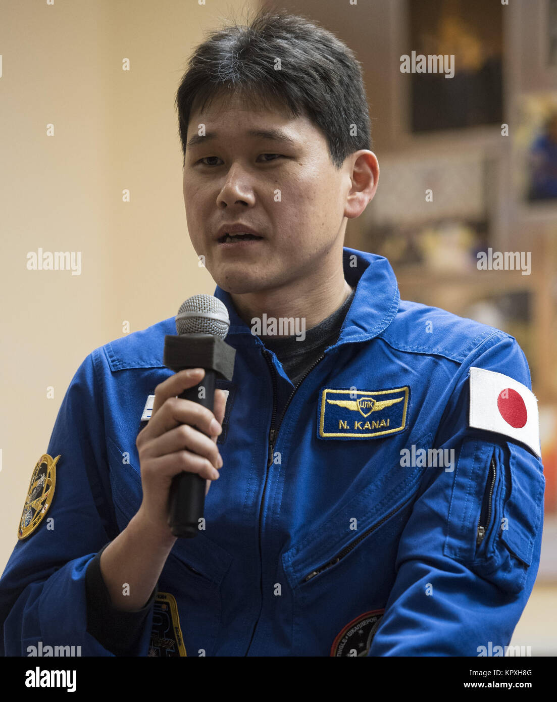 Baikonur, Kazakhstan. 16th Dec, 2017. Expedition 54 flight engineer Norishige Kanai of Japan Aerospace Exploration - Stock Image