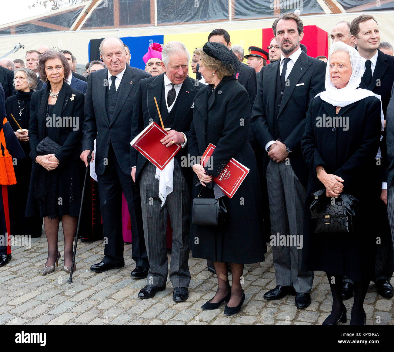 Bucharest, Romania. 16th Dec, 2017. HM King Juan Carlos I and HM Queen Sofia of Spain HRH The Prince of Wales HM - Stock Image