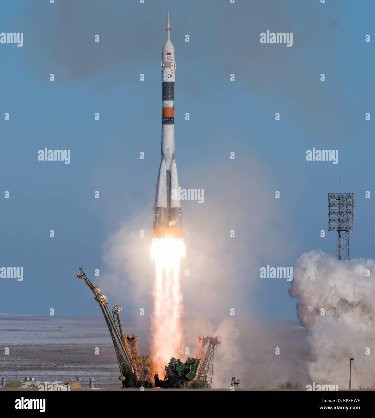 The Russian Soyuz rocket and Soyuz MS-07 spacecraft blast off from the launch pad carrying the International Space - Stock Image