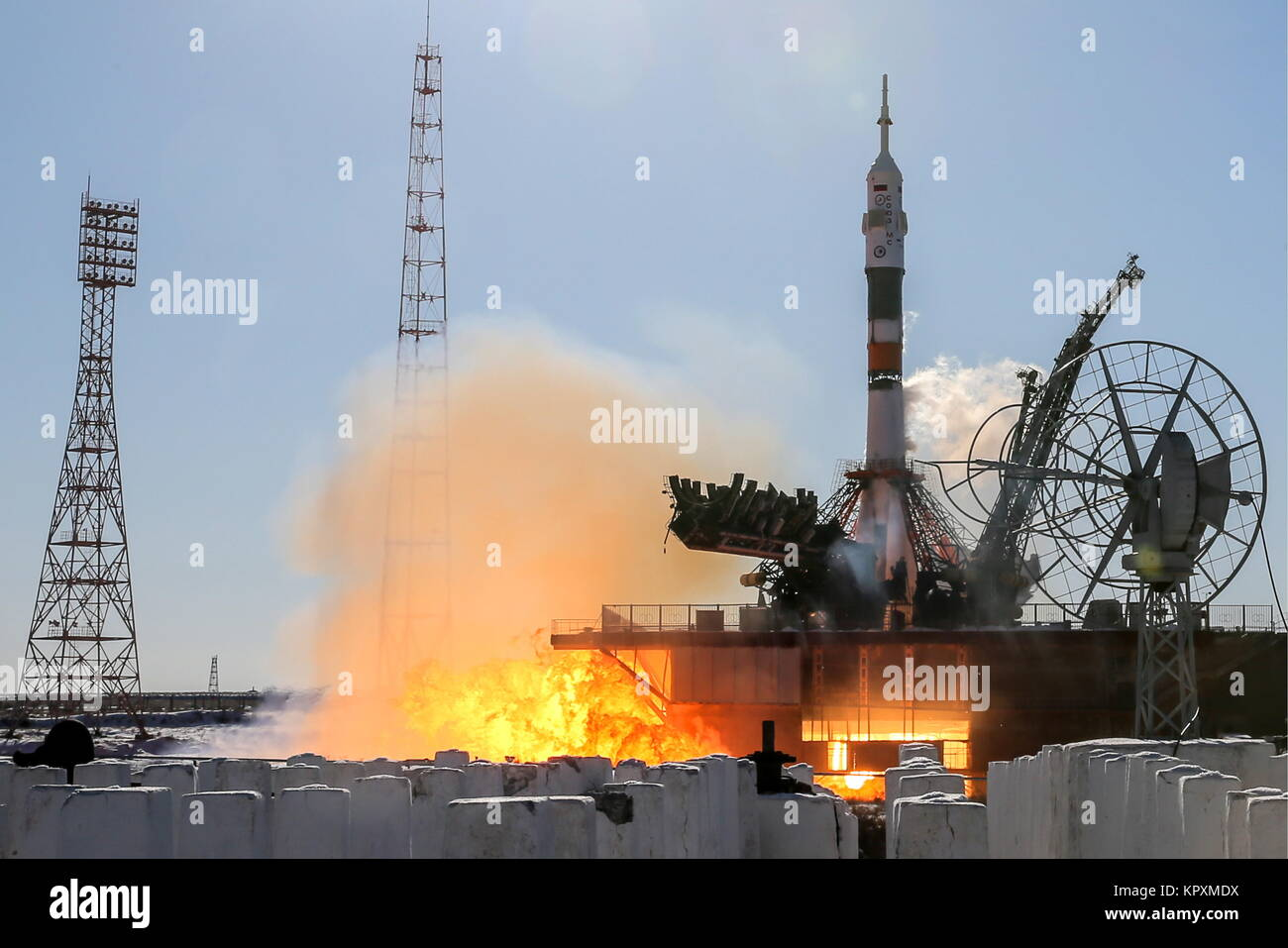 Baikonur, Kazakhstan. 17th Dec, 2017. A Soyuz-FG booster rocket carrying the Soyuz MS-07 has been launched from - Stock Image
