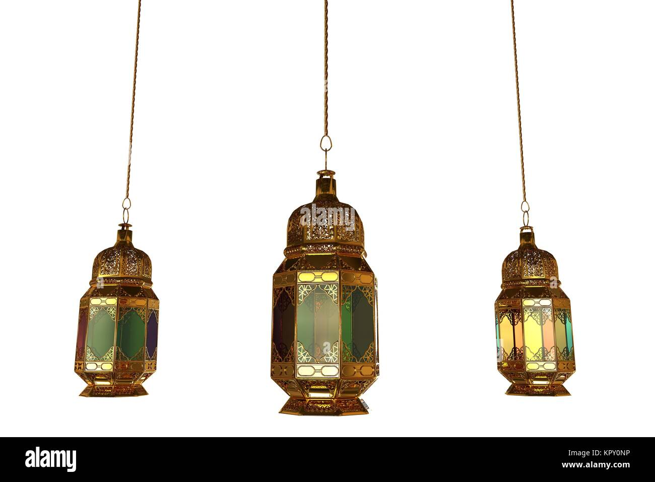 3d lanterns isolated - Stock Image