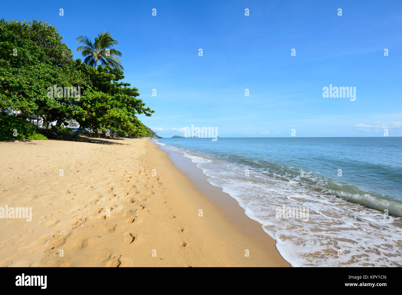 View of scenic Trinity Beach, a popular Northern Beaches suburb of Cairns, Far North Queensland, FNQ, QLD, Australia Stock Photo