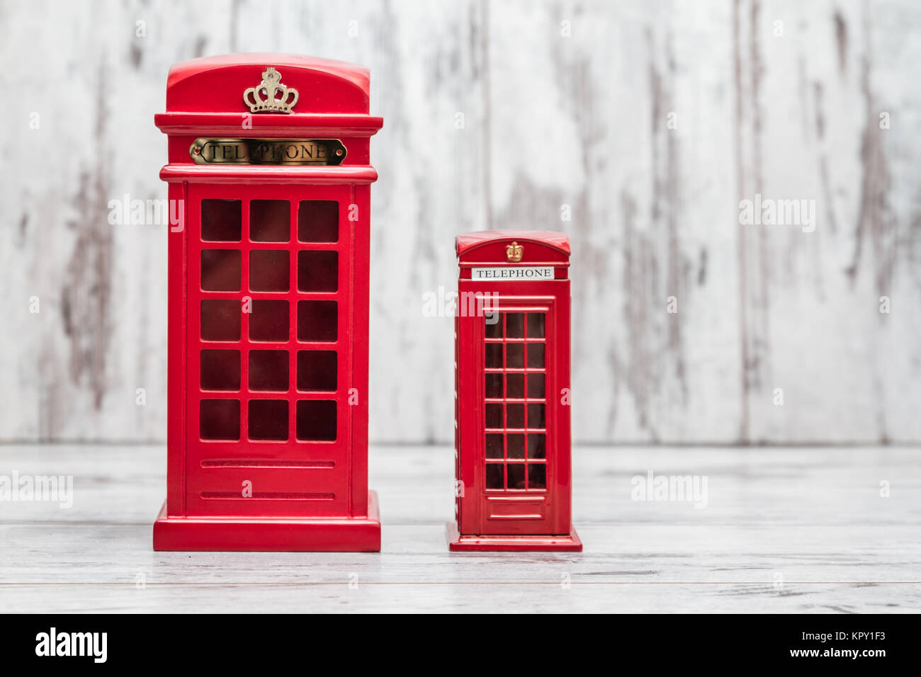 Decorative Money Box as Classic British Red Phone Booth - Stock Image