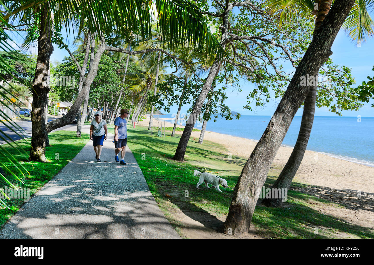 Senior couple walking their dog along the Esplanade, Trinity Beach, a popular Northern Beaches suburb of Cairns, Stock Photo