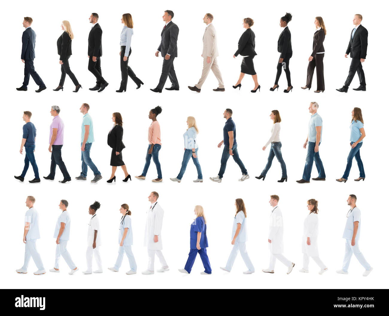 Collage Of People Walking In Line - Stock Image