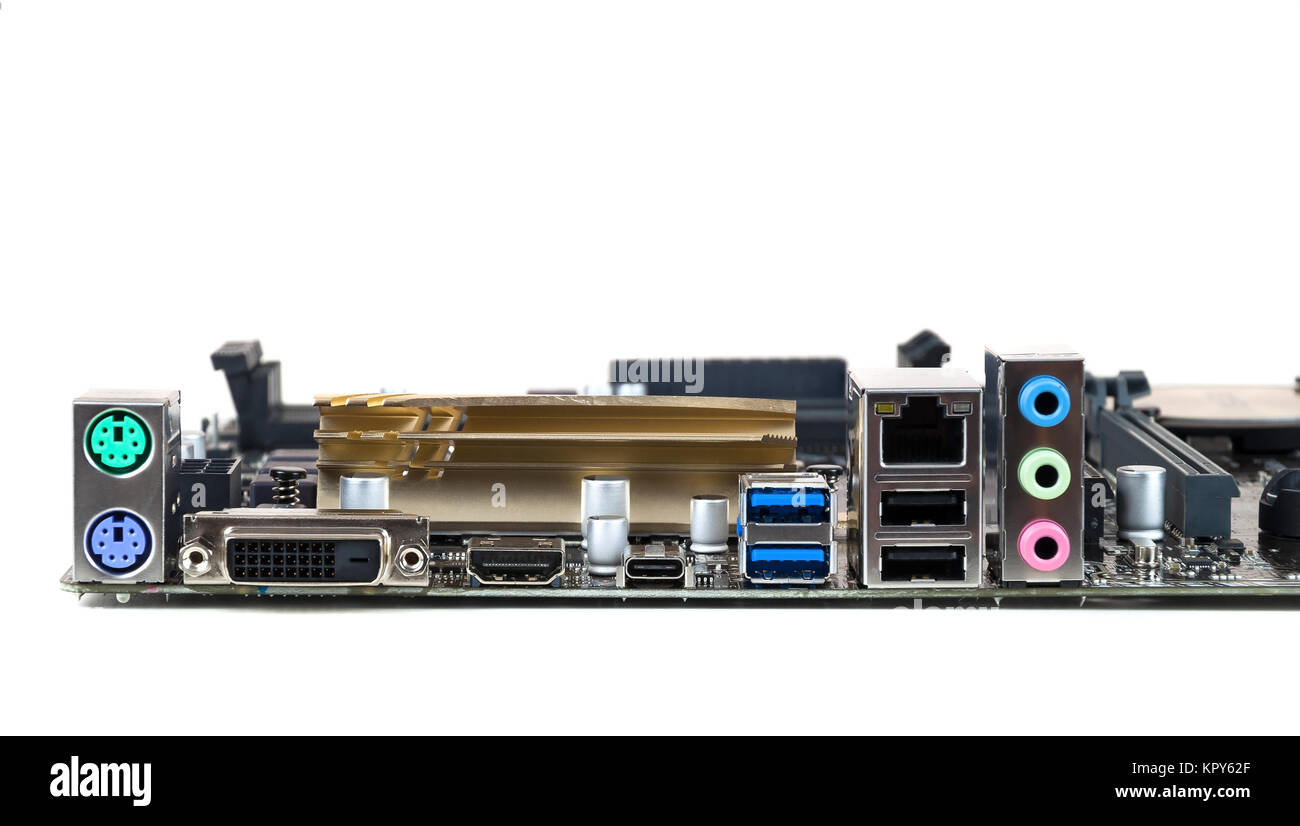 connectors of the computer motherboard - Stock Image