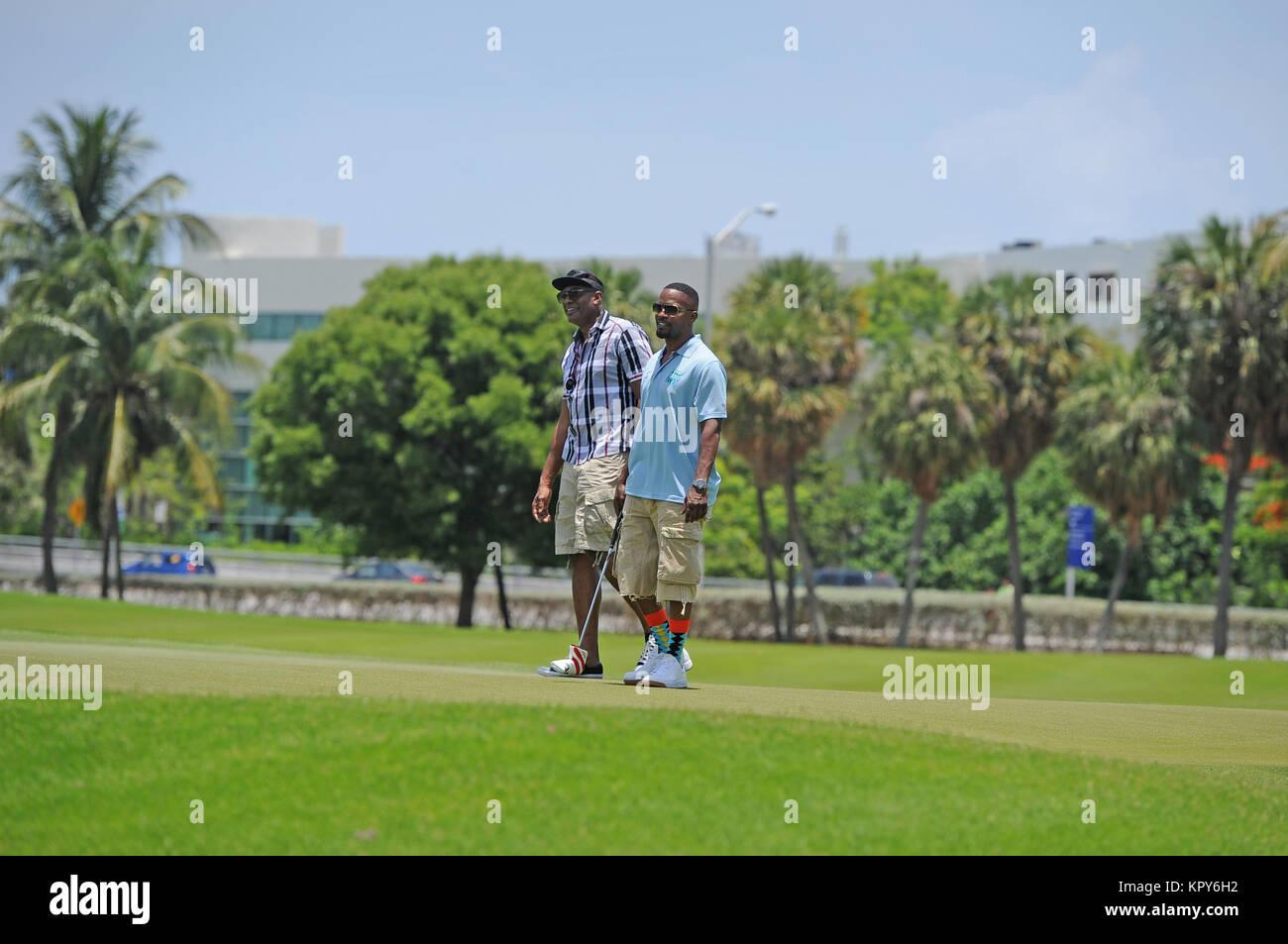 MIAMI BEACH, FL - JUNE 20:  Jamie Fox attends Celebrity Golf Tournament during DJ Irie Weekend at Miami Beach Golf Stock Photo