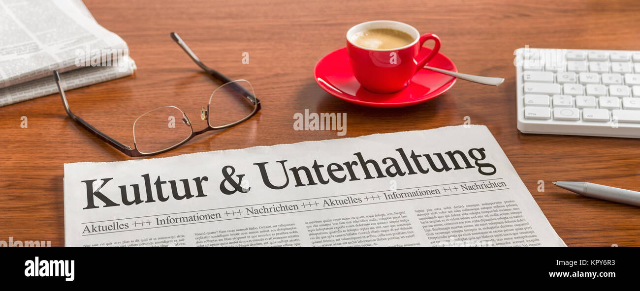 newspaper desk - culture and entertainment - Stock Image
