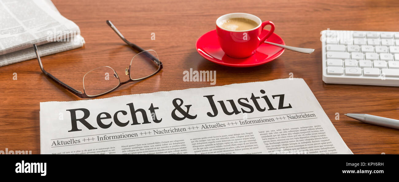 newspaper desk - law and justice Stock Photo