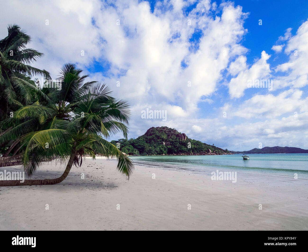 seychelles - praslin,on the cote d'or / anse volbert Stock Photo