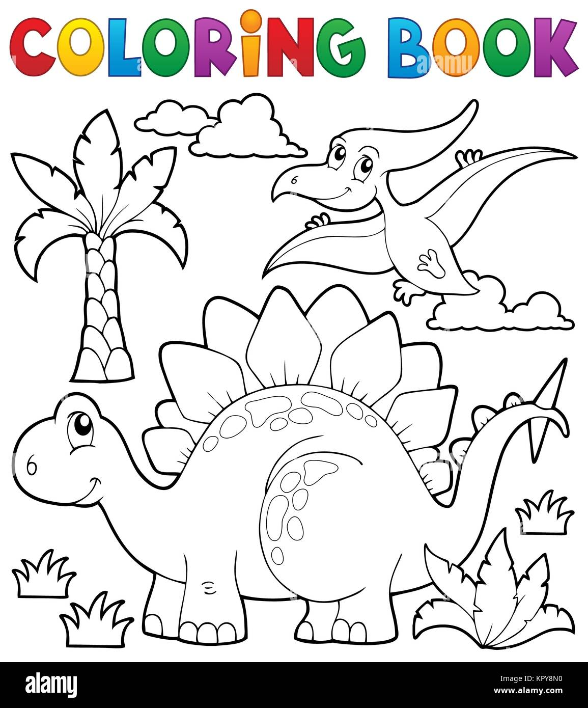 Coloring book dinosaur theme 1 - Stock Image