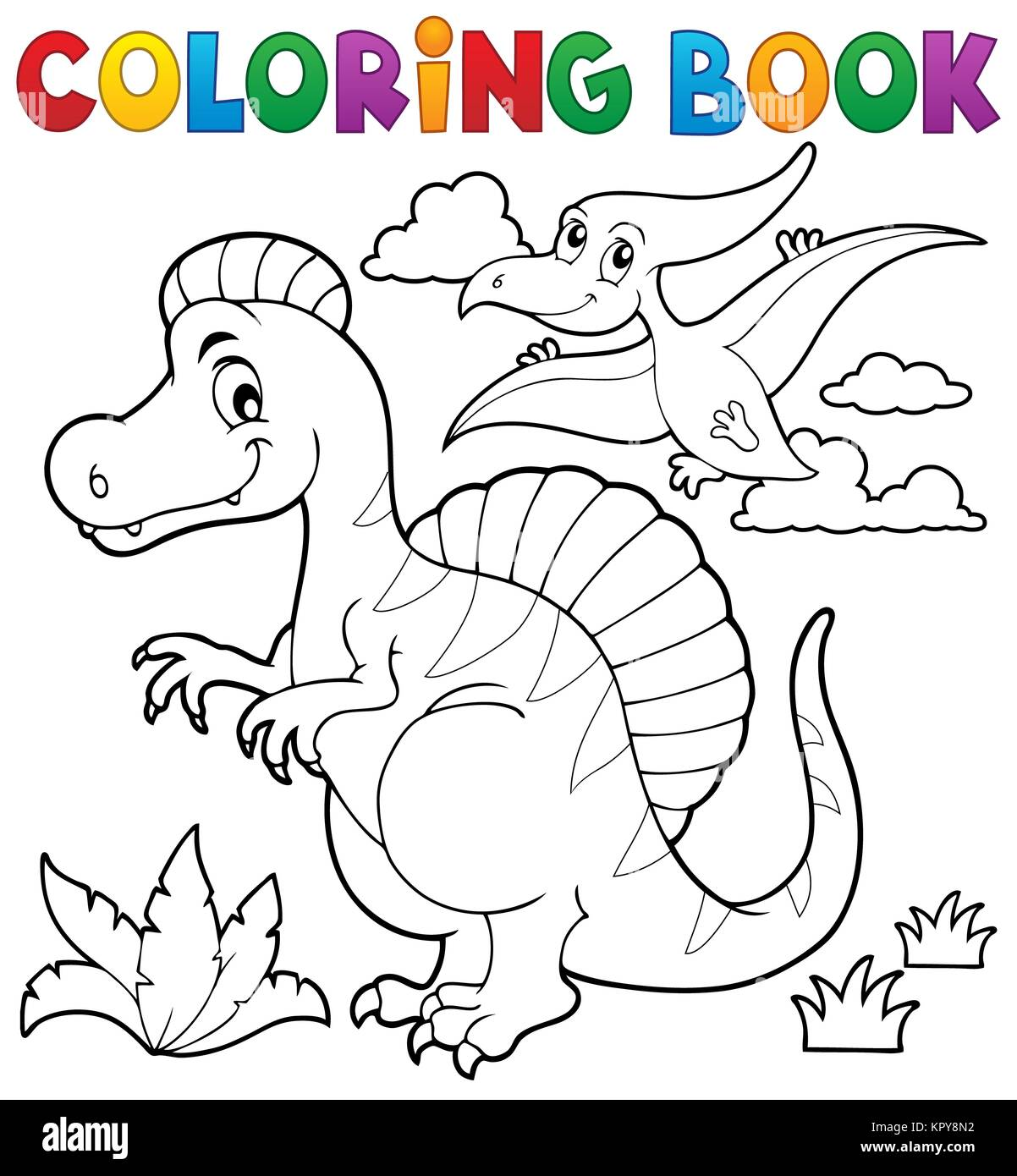 Coloring book dinosaur theme 2 - Stock Image