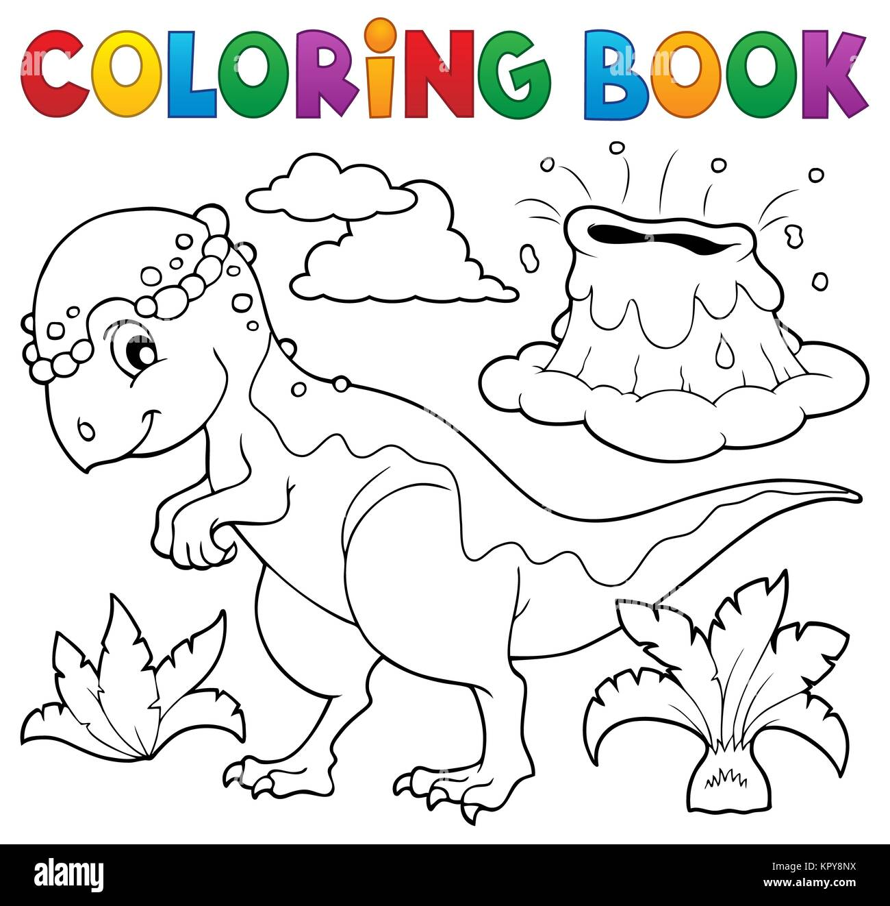 Coloring book dinosaur topic 5 - Stock Image