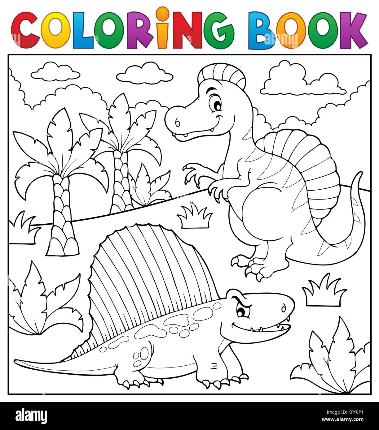 Coloring book dinosaur topic 7 - Stock Image