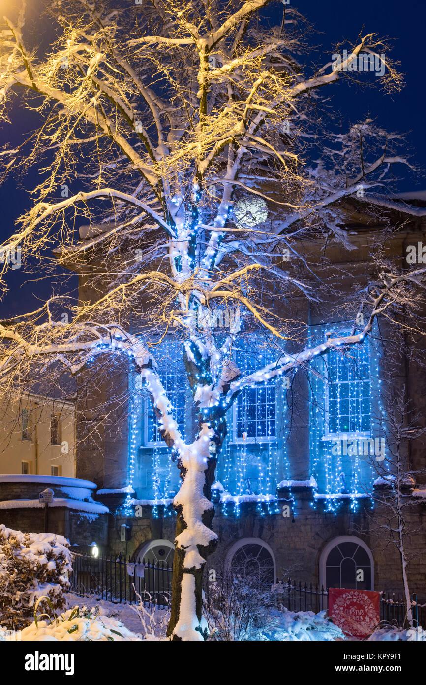 Snowing Christmas Lights.Christmas Lights Snowing Stock Photos Christmas Lights