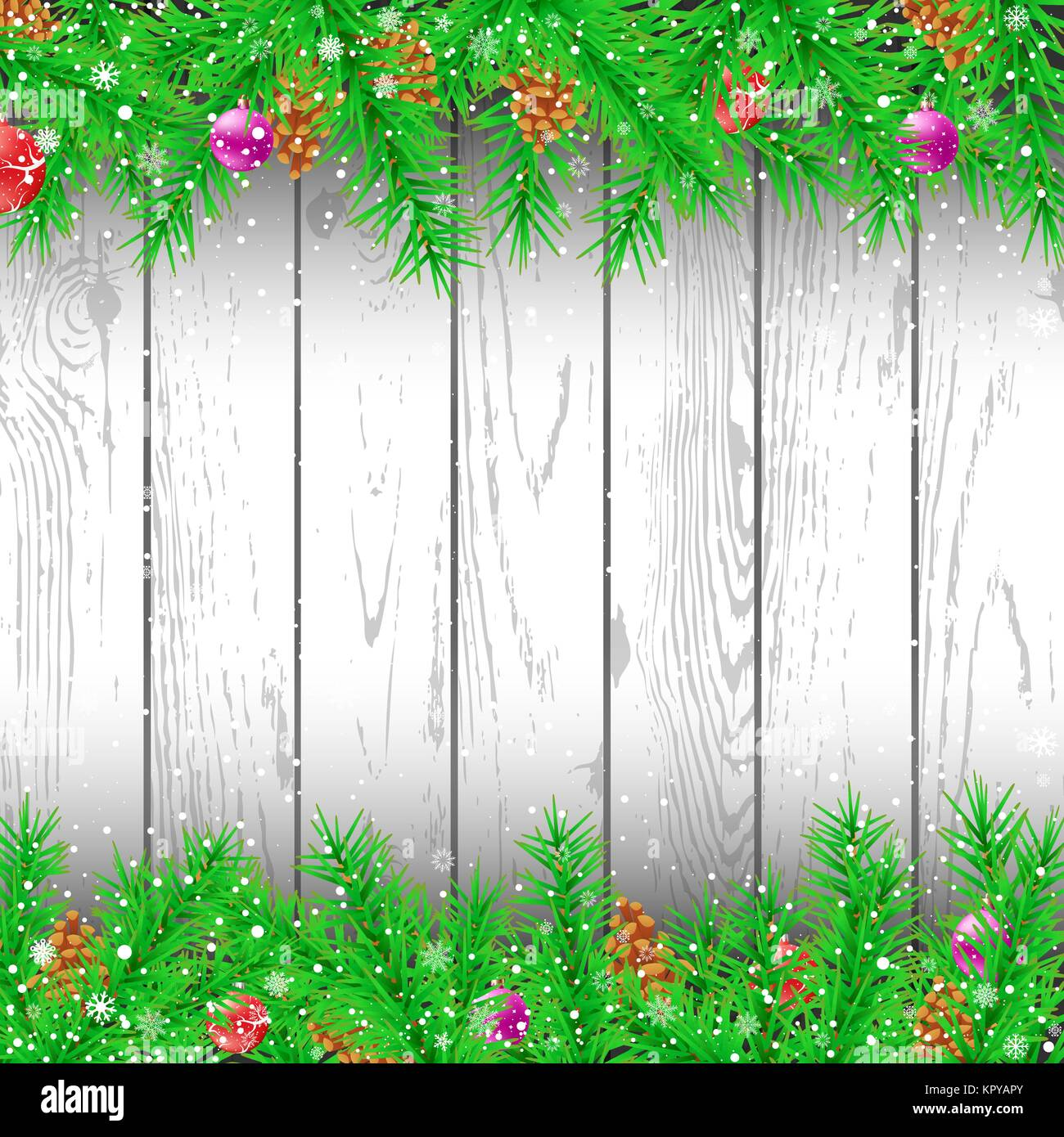 Spruce branch white wood background - Stock Vector