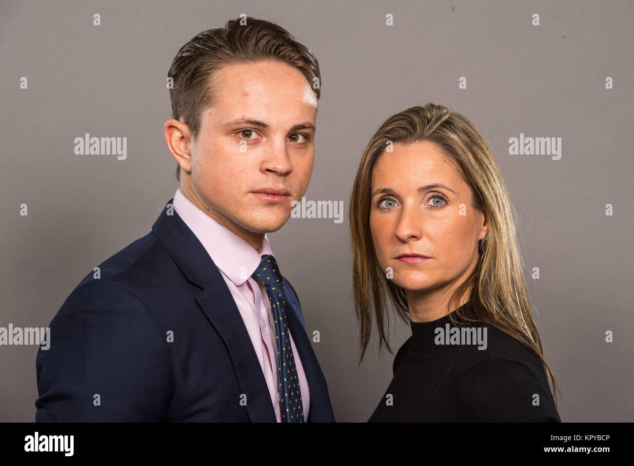 Who Will Fight For Stock Photos Images Andrew Smith Red Denim Merah 32 The Apprentice Finalists James White And Sarah Lynn It Out To Win