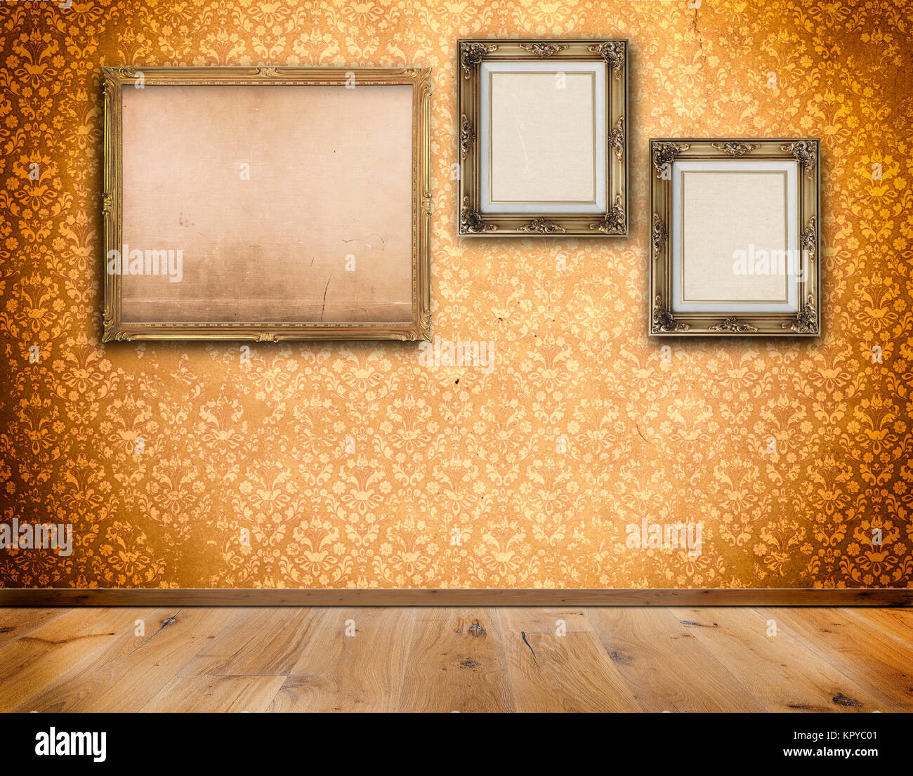Decorative old-fashioned frames with old canvas on wall with Stock ...