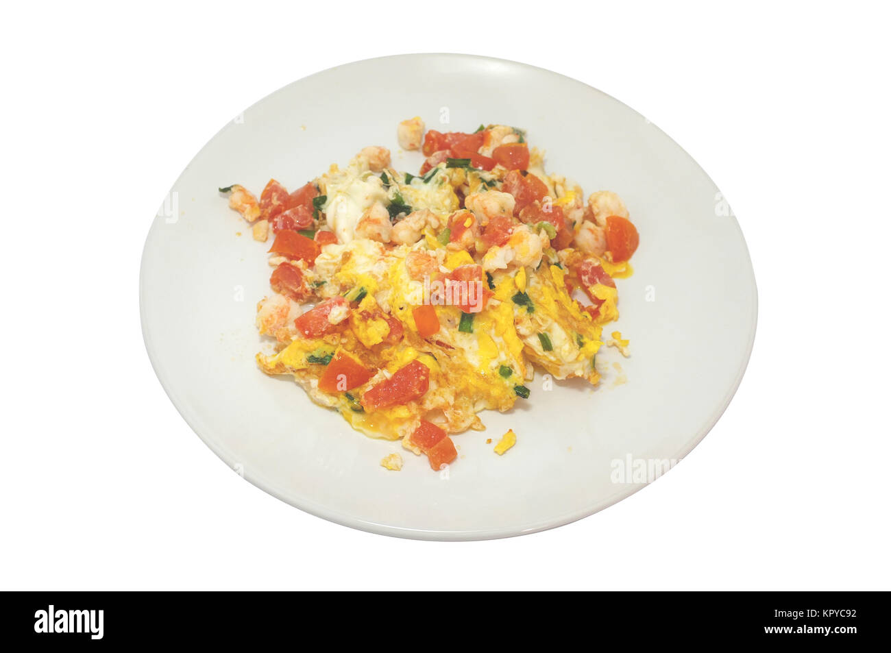 Omelet with shrimp and tomato - Stock Image