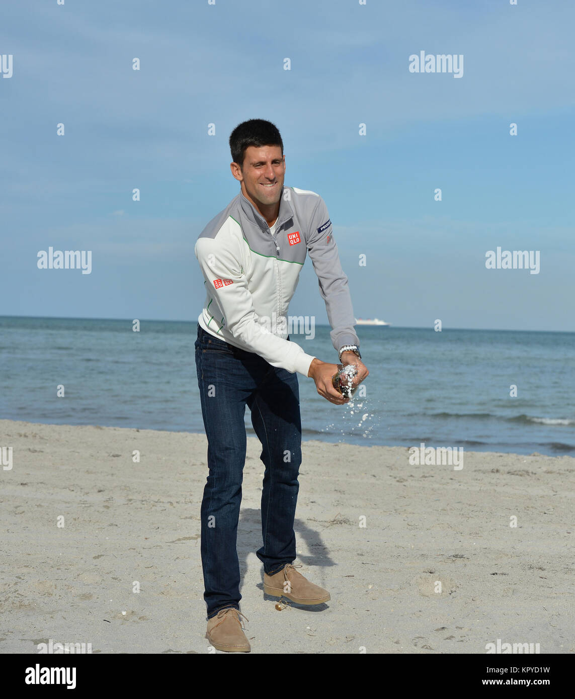 Key Biscayne Fl March 30 Novak Djokovic Of Serbia Makes A Stock Photo Alamy