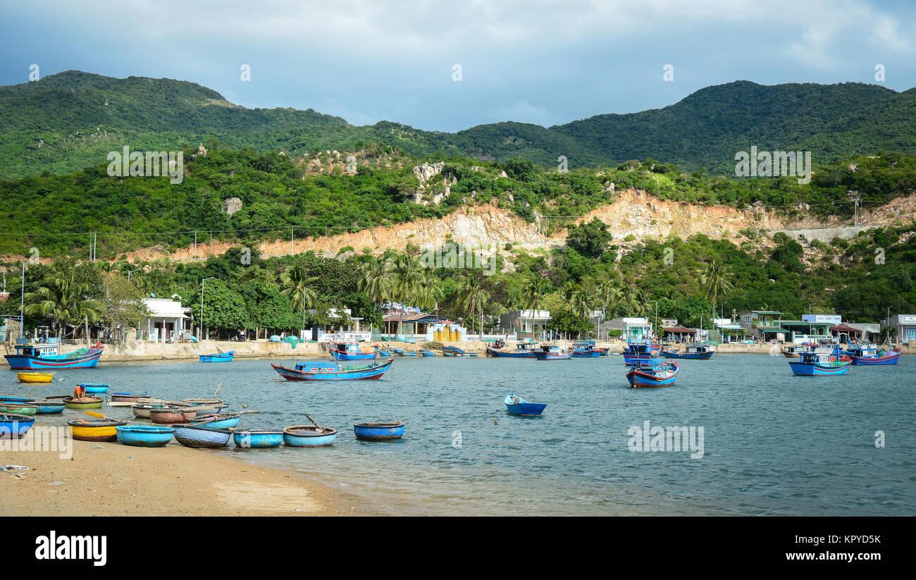 Fishing village at sunny day in Nha Trang, Vietnam. Stock Photo