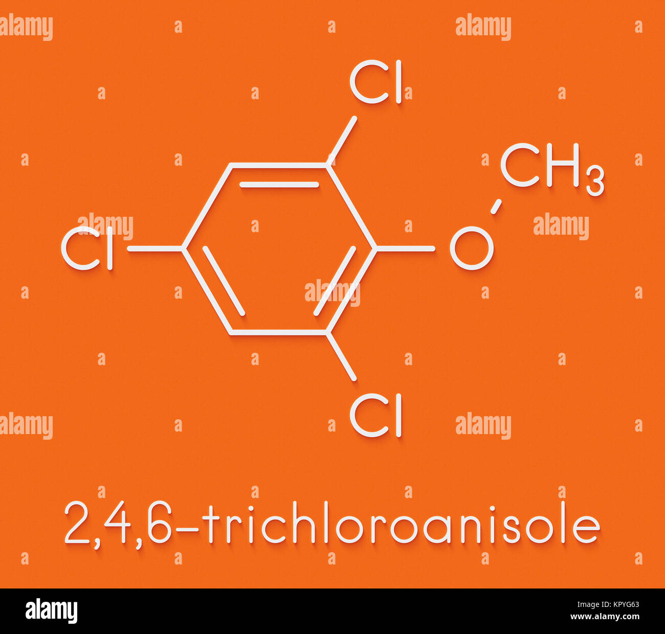 Trichloroanisole (TCA) cork taint molecule. Produced by fungi and bacteria, responsible for cork taint in bottled - Stock Image