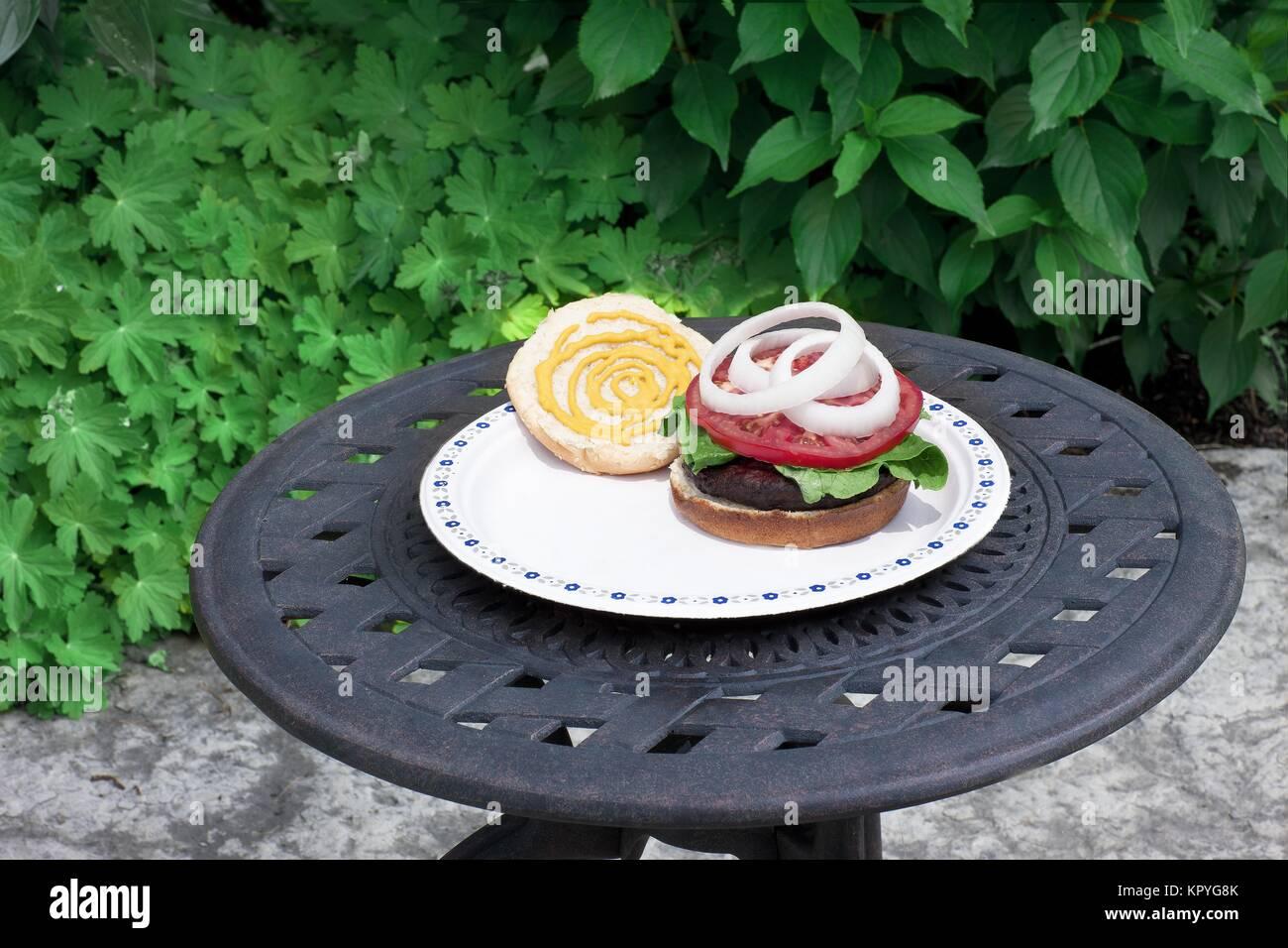 mustardy hamburger Stock Photo