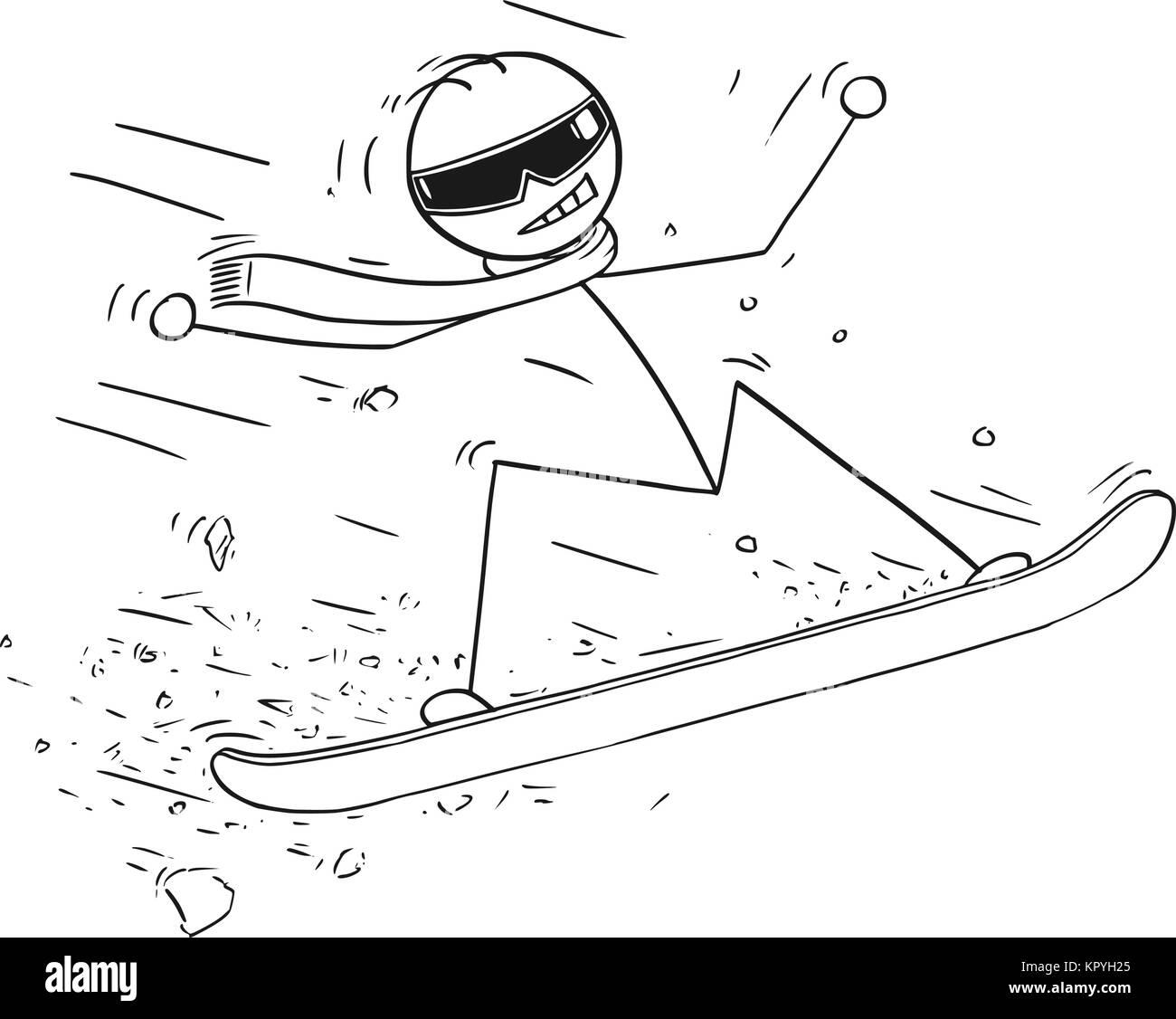 Cartoon stick man drawing illustration of man snowboarding on snowboard. - Stock Image