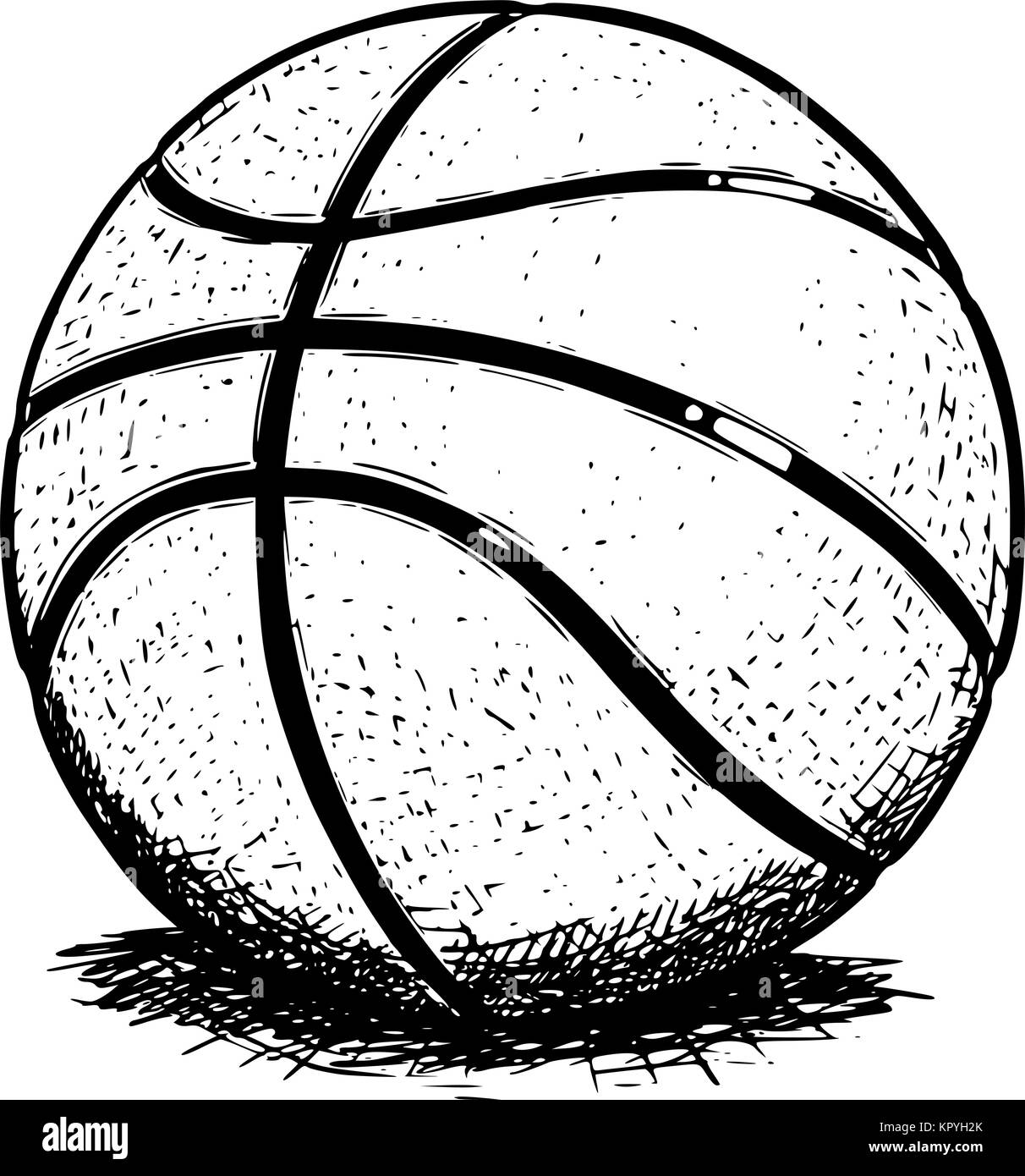 Vector hand drawing drawn illustration of basketball ball. - Stock Image