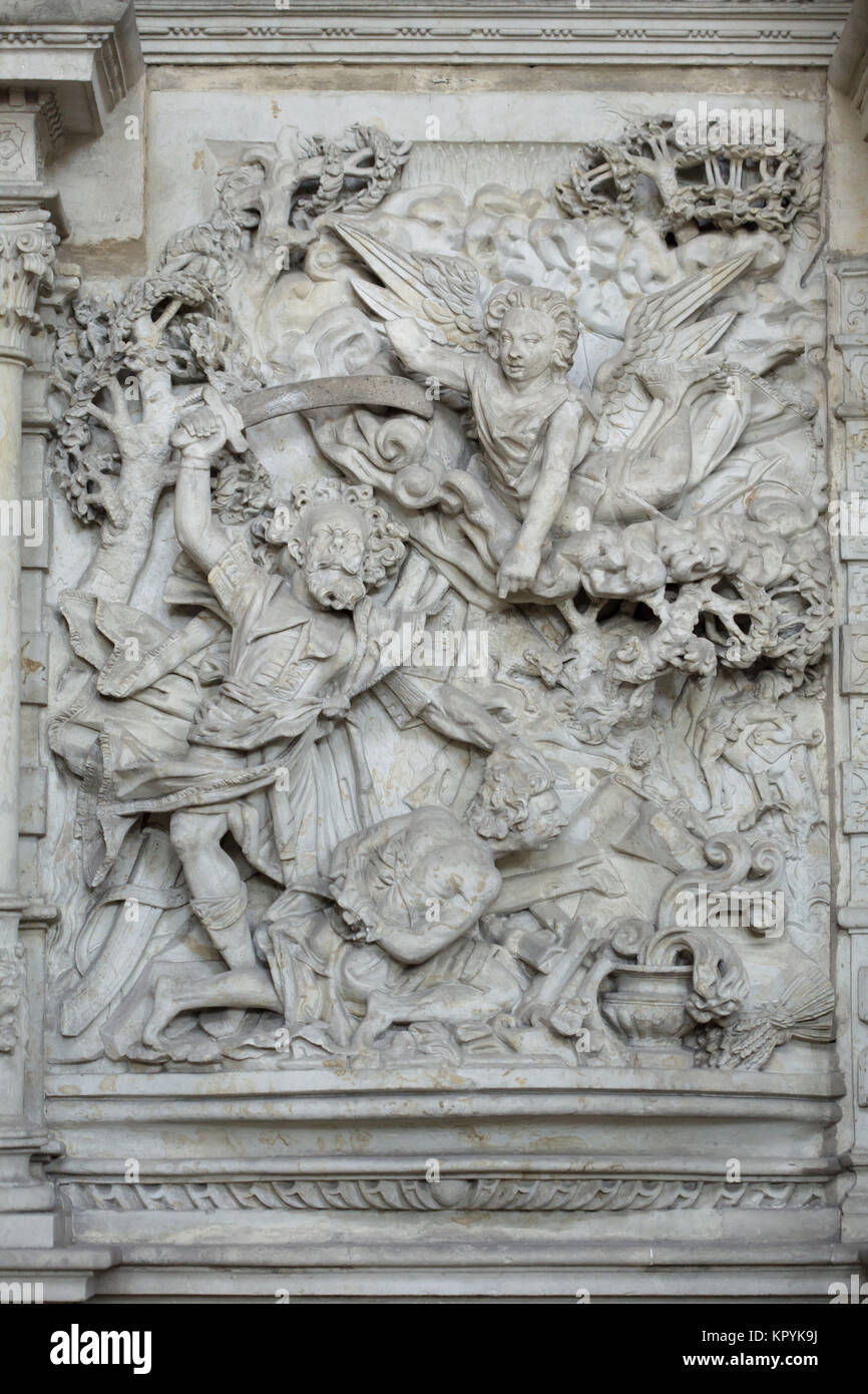 Sacrifice of Isaac. Renaissance relief on the Schulenburg Epitaph in the Magdeburg Cathedral in Magdeburg, Saxony - Stock Image