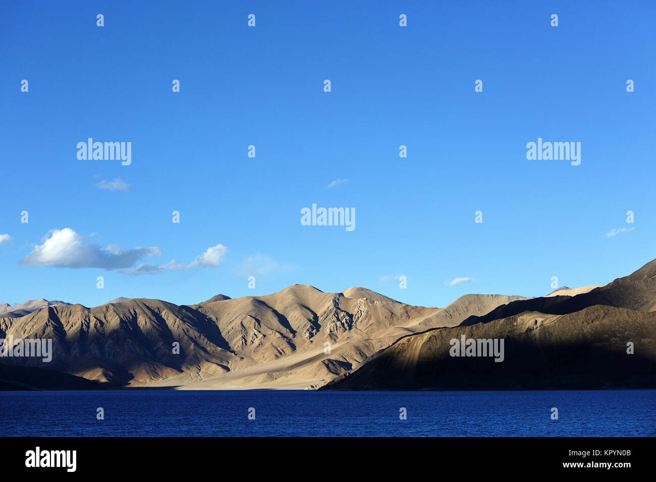 Barren landscape and the himalayan mountains by the blue lake of Pangong Tso, Ladakh, Jammu and Kashmir, India. - Stock Image