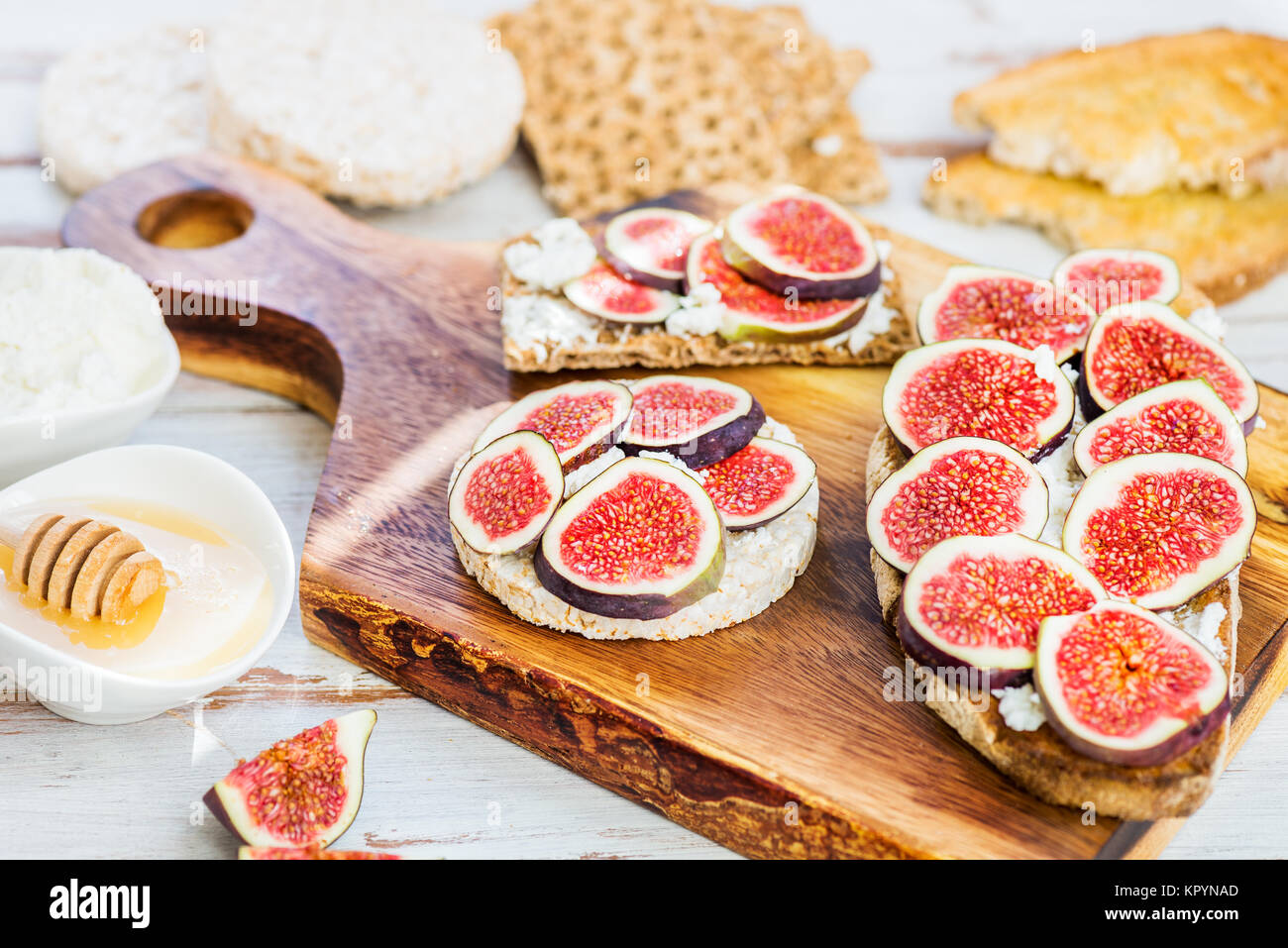 Various Healthy snacks from rice cake, wholegrain rye crispbread crackers and sourdough bread toasts together with - Stock Image