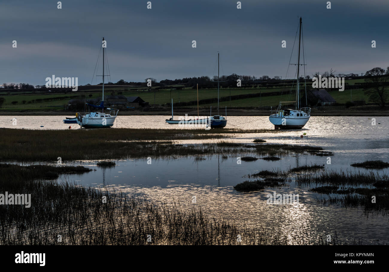 Yachts moored in Alnmouth Harbour, Northumberland, UK, in late afternoon winter sunshine with a dark sky background, - Stock Image