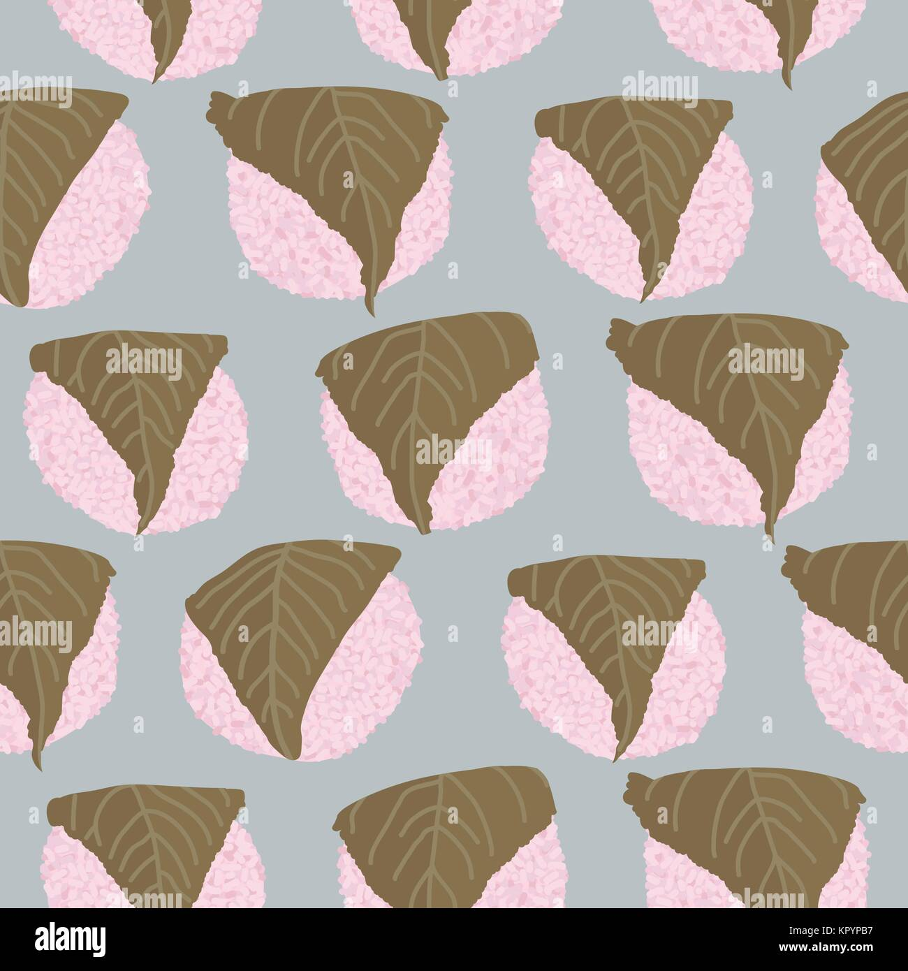 Sakura Mochi background. Seamless pattern. Rice balls wrapped in a salty pickled cherry leafs. Asian cuisine.Dessert - Stock Vector