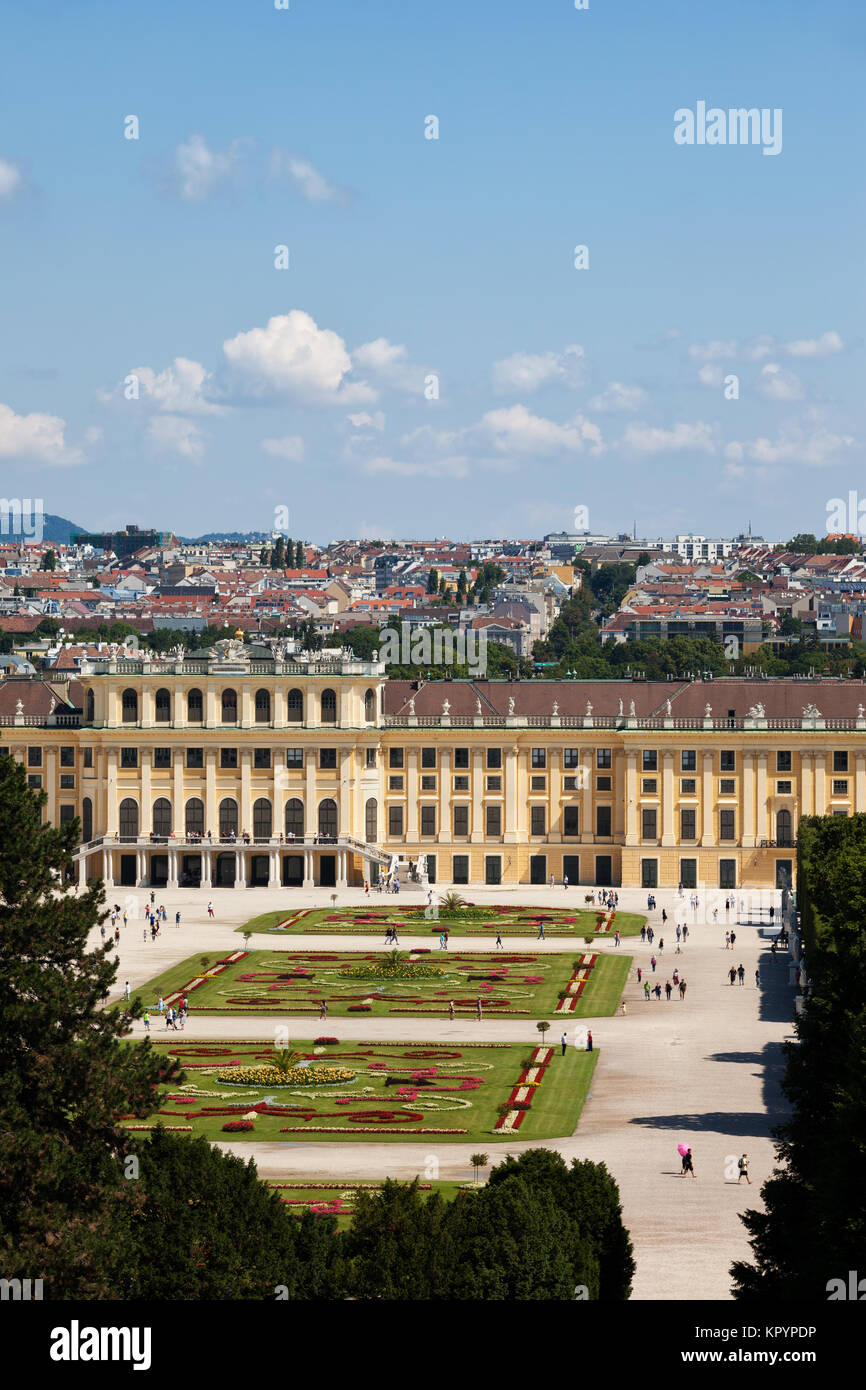 Schonbrunn Palace, imperial summer Baroque residence and garden, city of Vienna, Austria, Europe - Stock Image