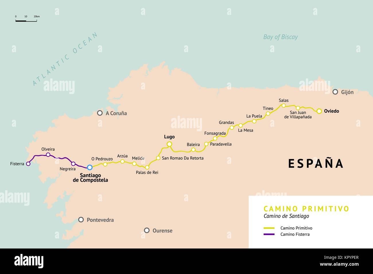 Camino Primitivo map. Original route from Oviedo. Camino De Santiago or The Way of St.James. Ancient pilgrimage - Stock Image
