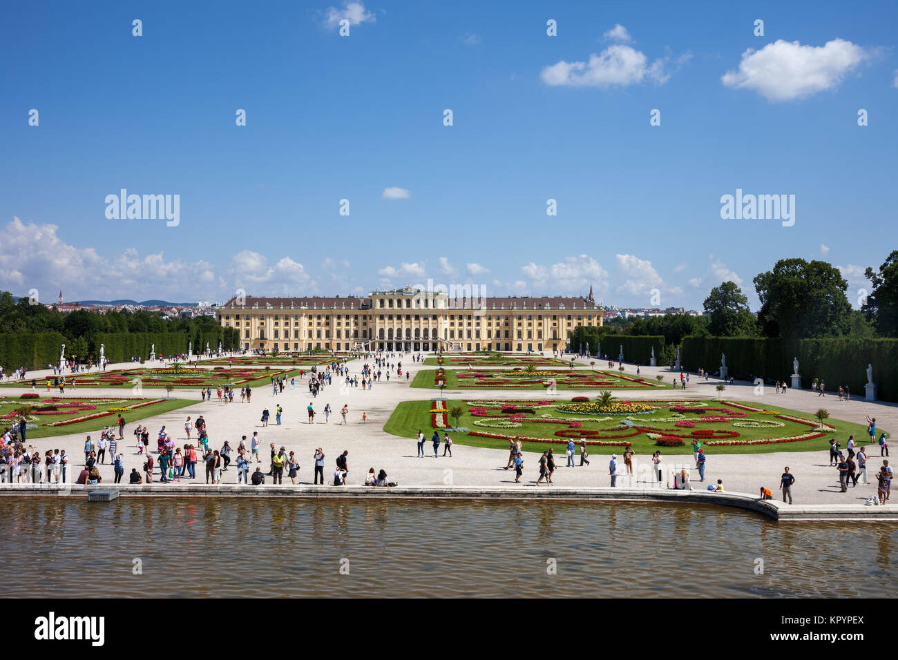 Schonbrunn Palace, imperial summer Baroque residence and garden, city of Vienna, Austria, Europe Stock Photo