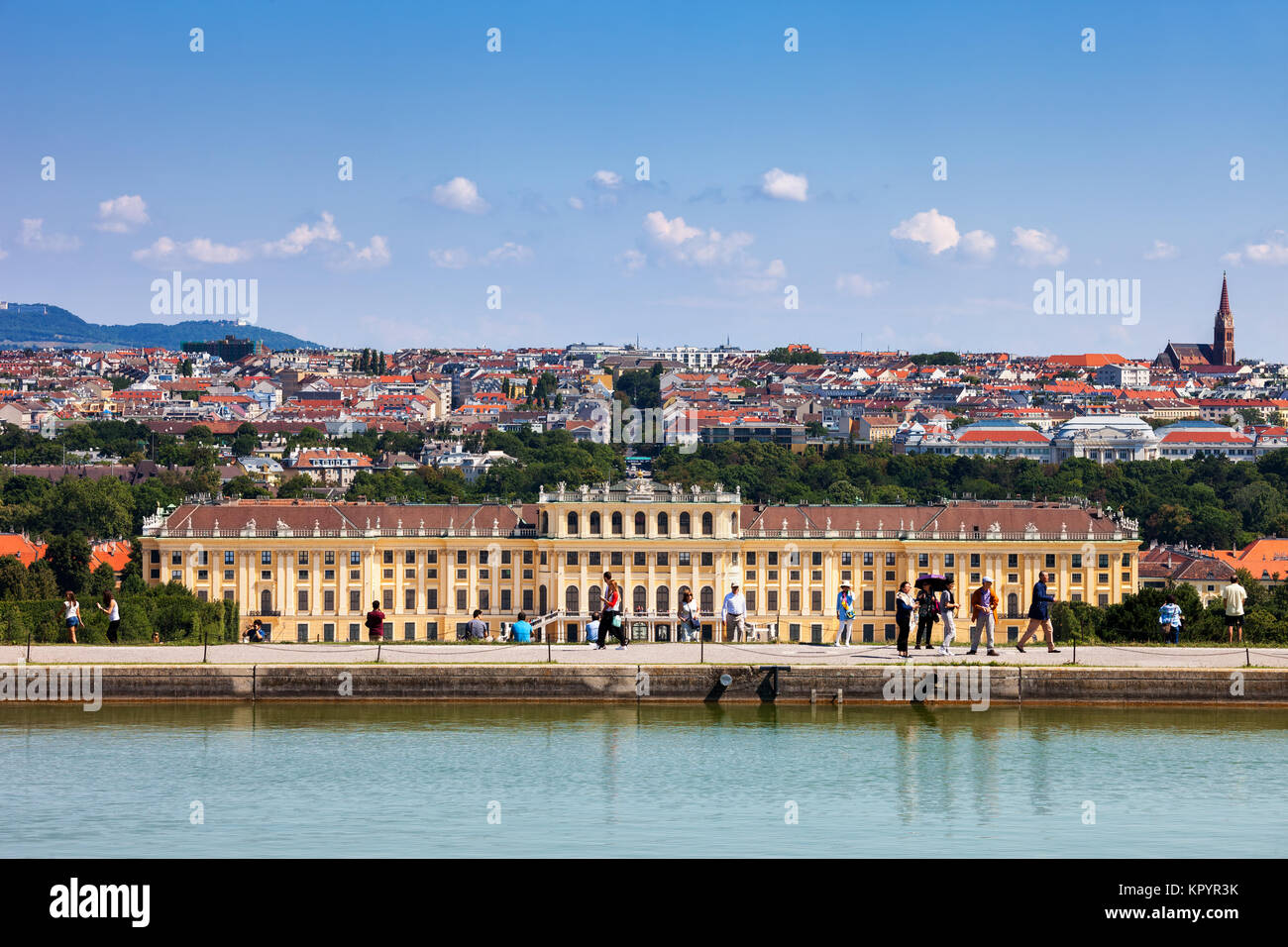 Schonbrunn Palace, imperial summer residence Baroque style architecture, city skyline of Vienna, Austria, Europe Stock Photo