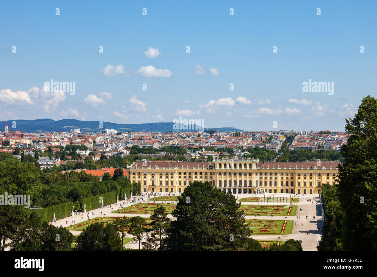 Schonbrunn Palace, imperial summer Baroque residence and garden, city of Vienna cityscape, Austria, Europe - Stock Image