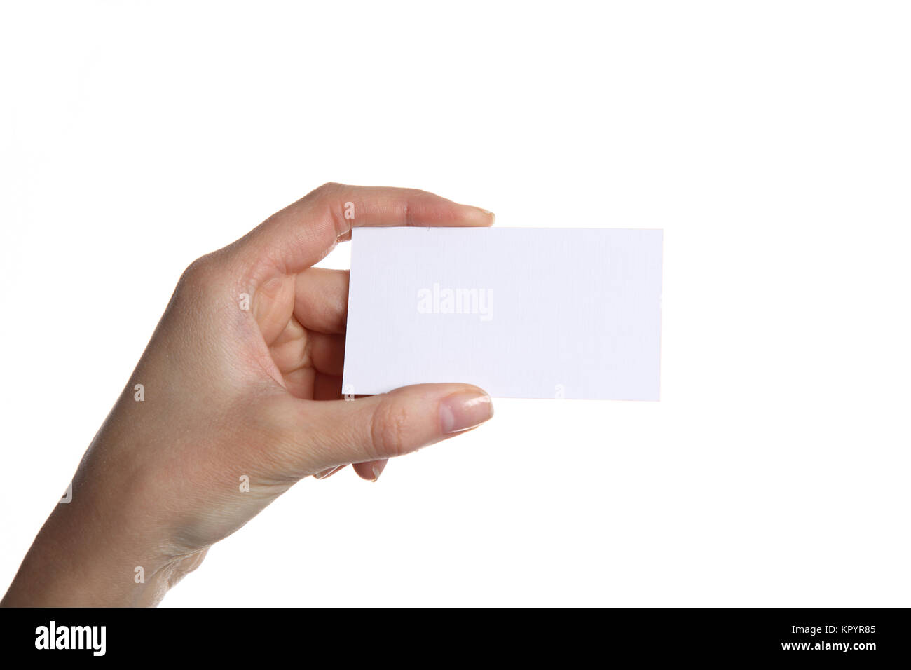 Female hand holding business card in office Stock Photo: 169026709 ...
