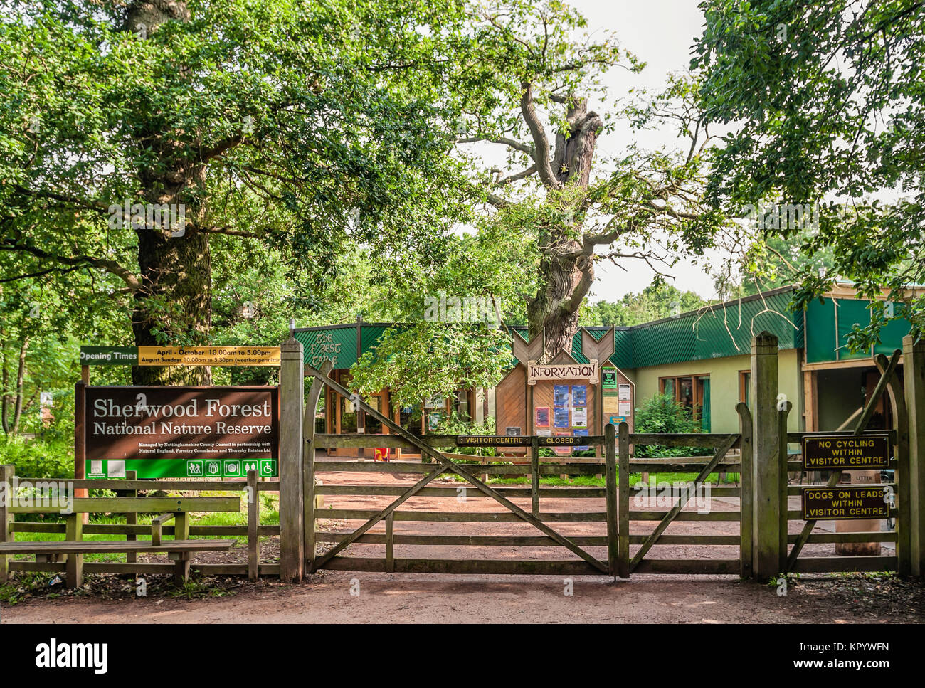Front gate of the Sherwood Forest National Nature Reserve Visitor Centre in Nottinghamshire, England, UK - Stock Image