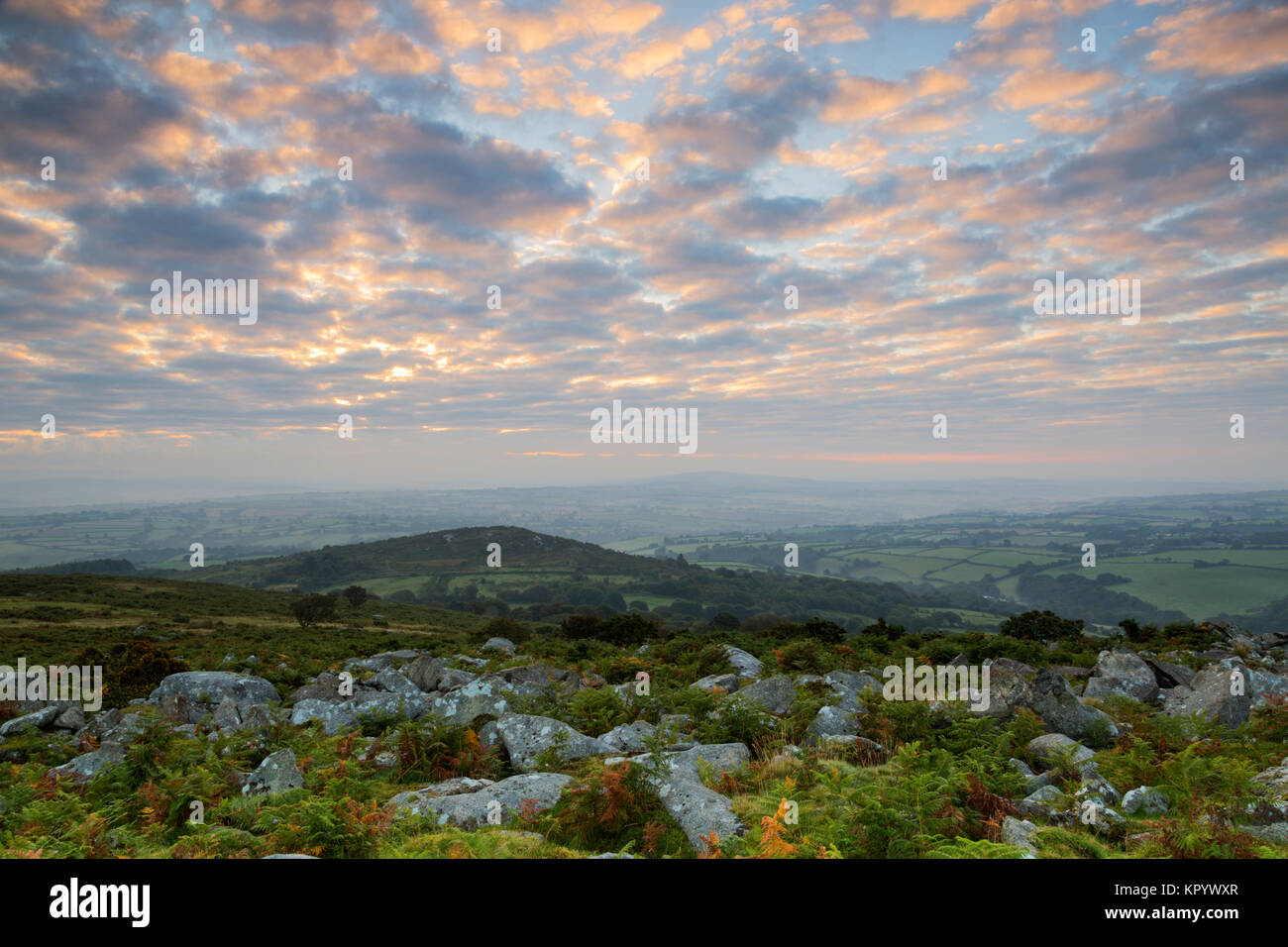 Sunrise from the summit of Sharptor on Bodmin Moor - Stock Image