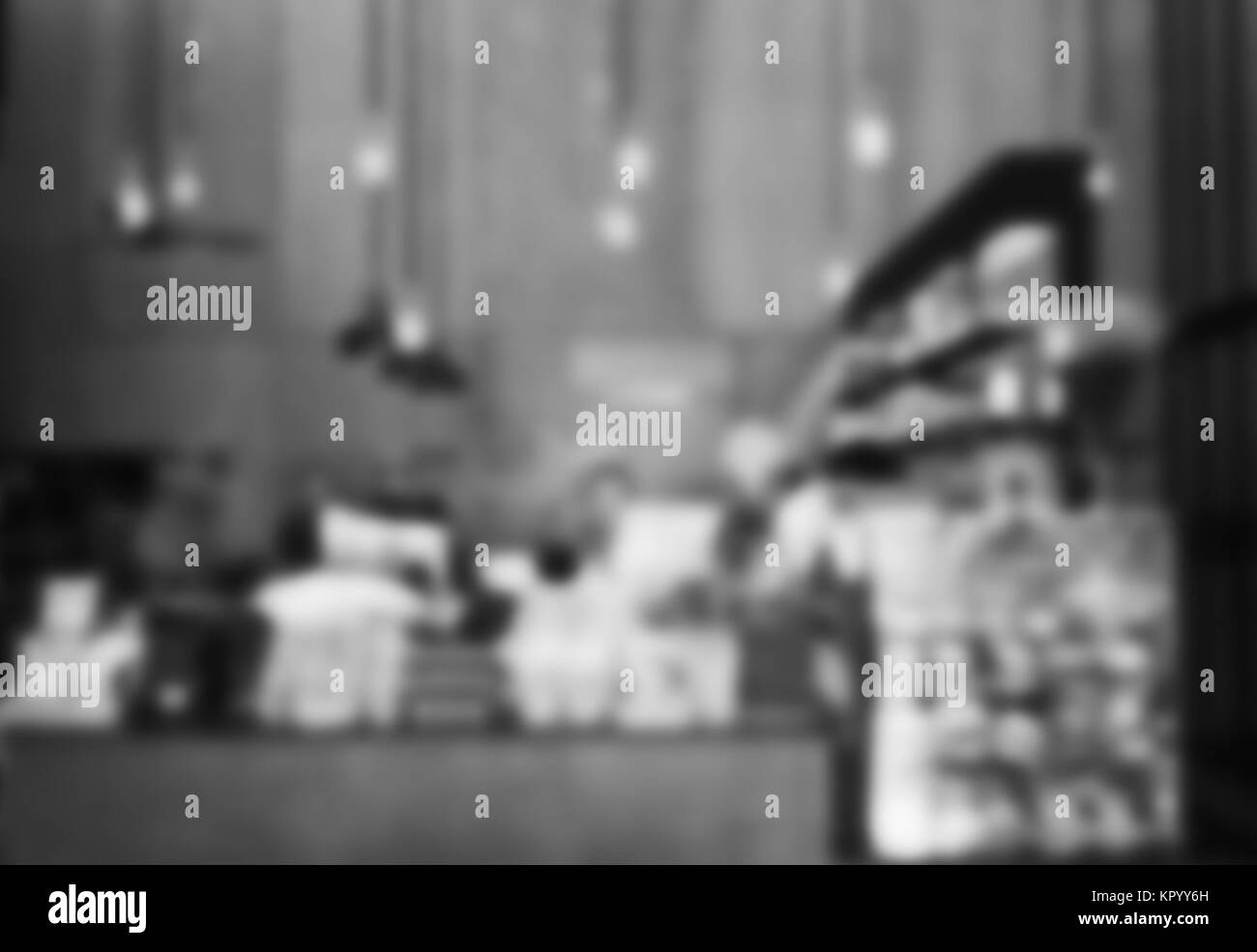 Blurred background in coffee shop with black and white tone - Stock Image
