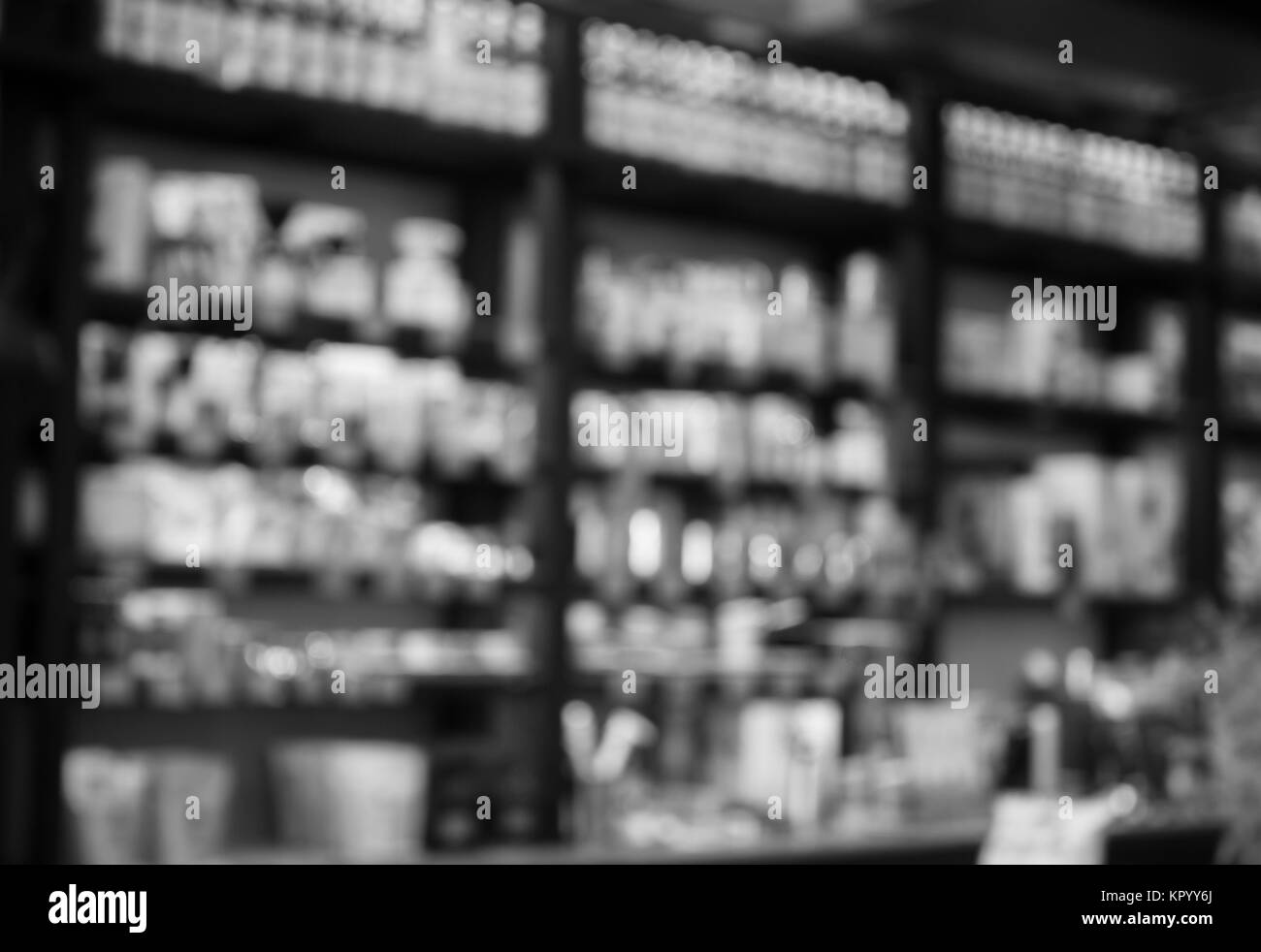 Cafe blurred background with black and white tone - Stock Image