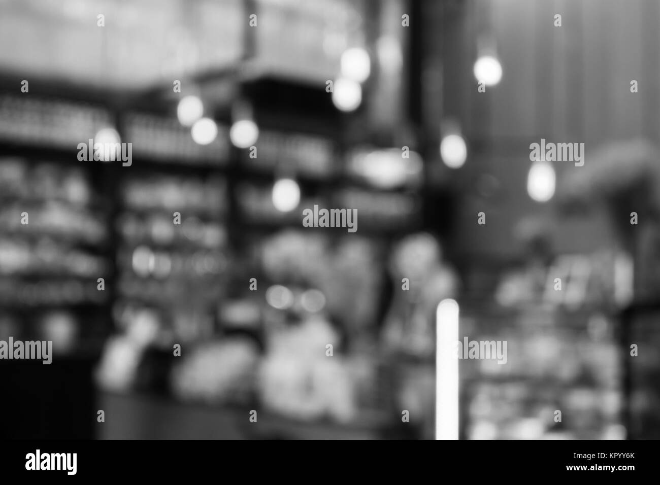 Coffee shop blurred background with black and white tone - Stock Image