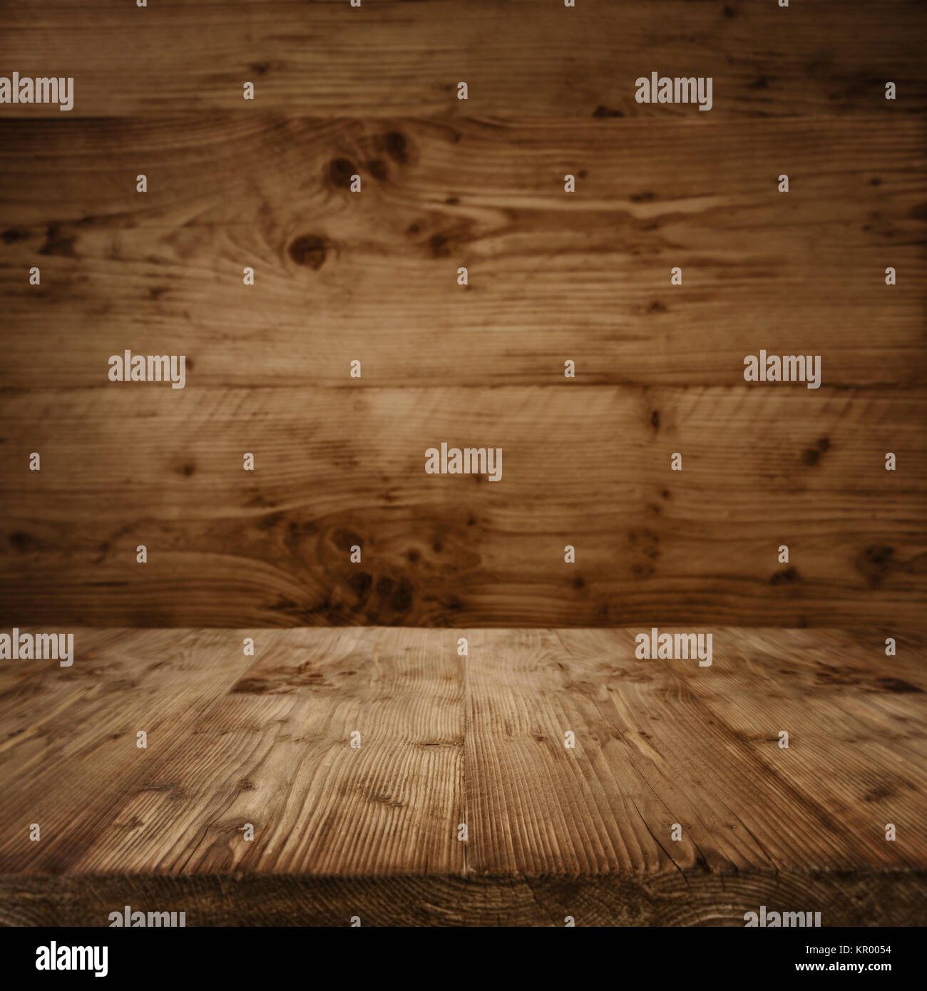 interior with a wooden floor in vintage style - Stock Image