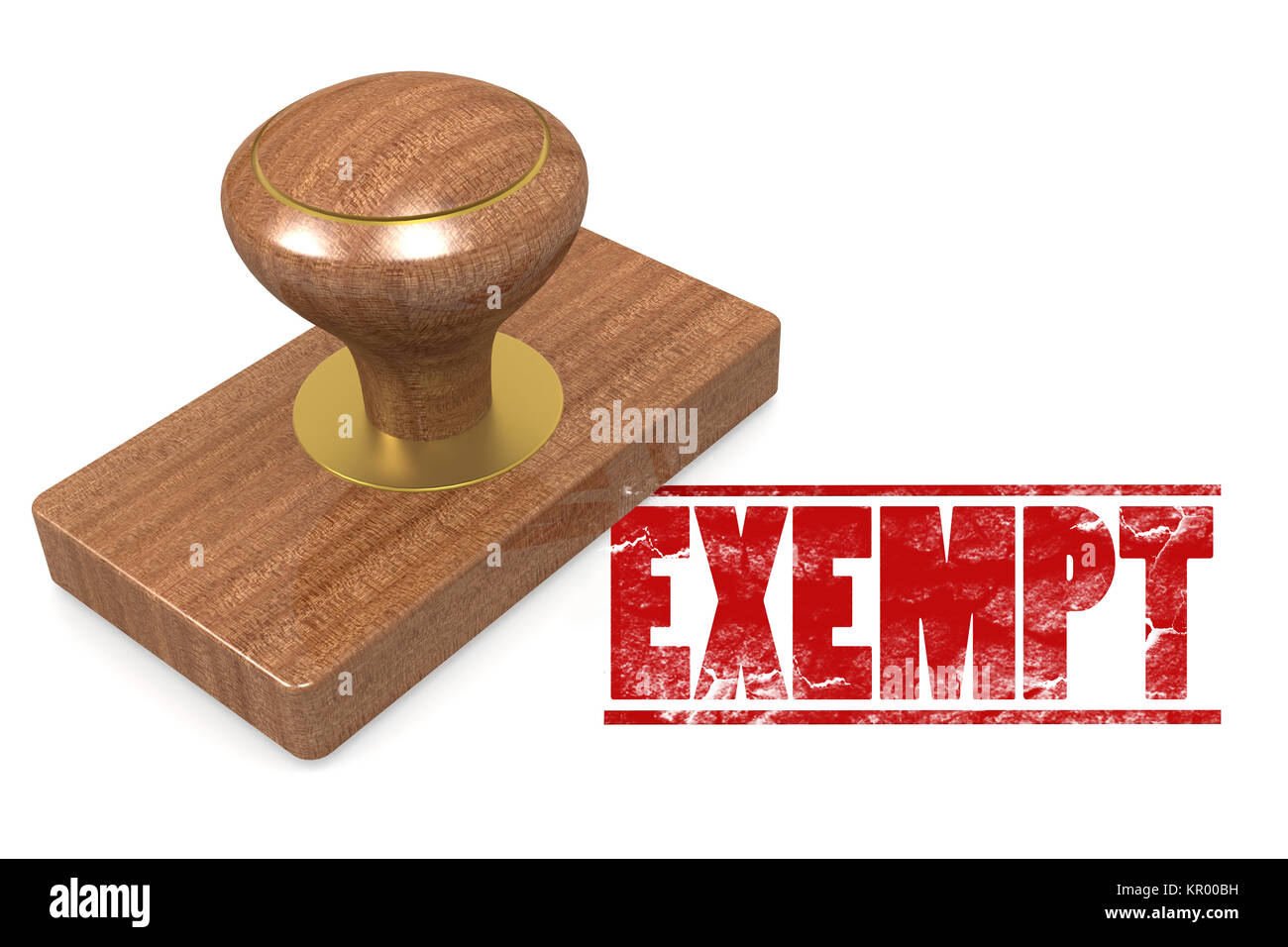Exempt wooded seal stamp - Stock Image