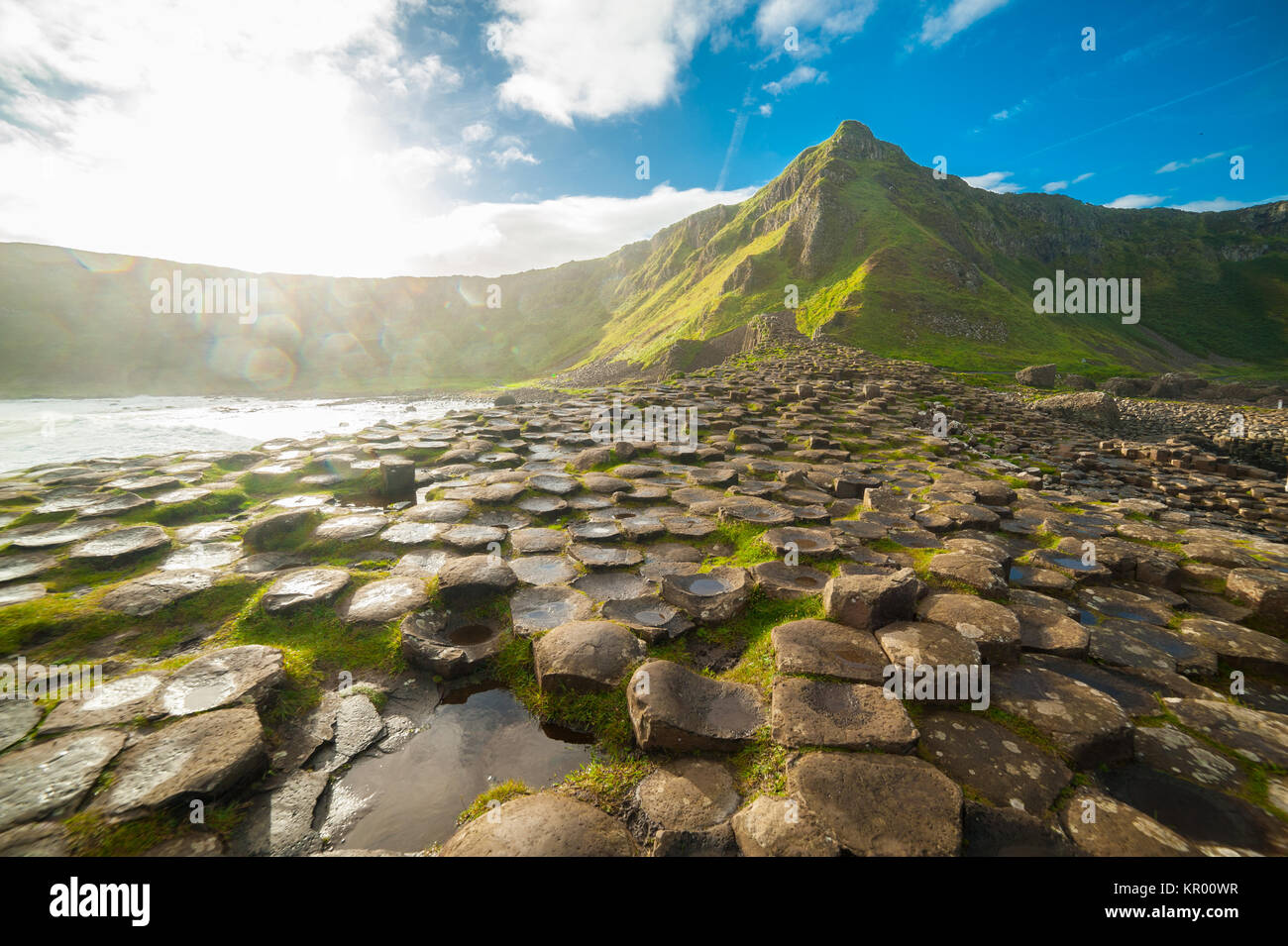 The Giant's Causeway at dawn on a sunny day with the famous basalt columns, the result of an ancient volcanic - Stock Image