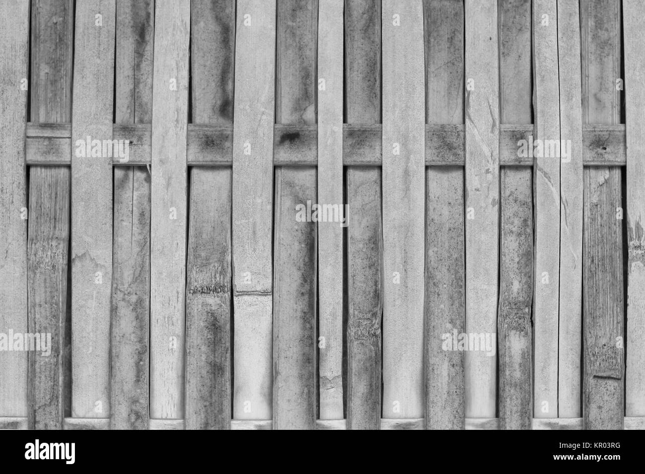 Close up bamboo fence with black and white tone - Stock Image