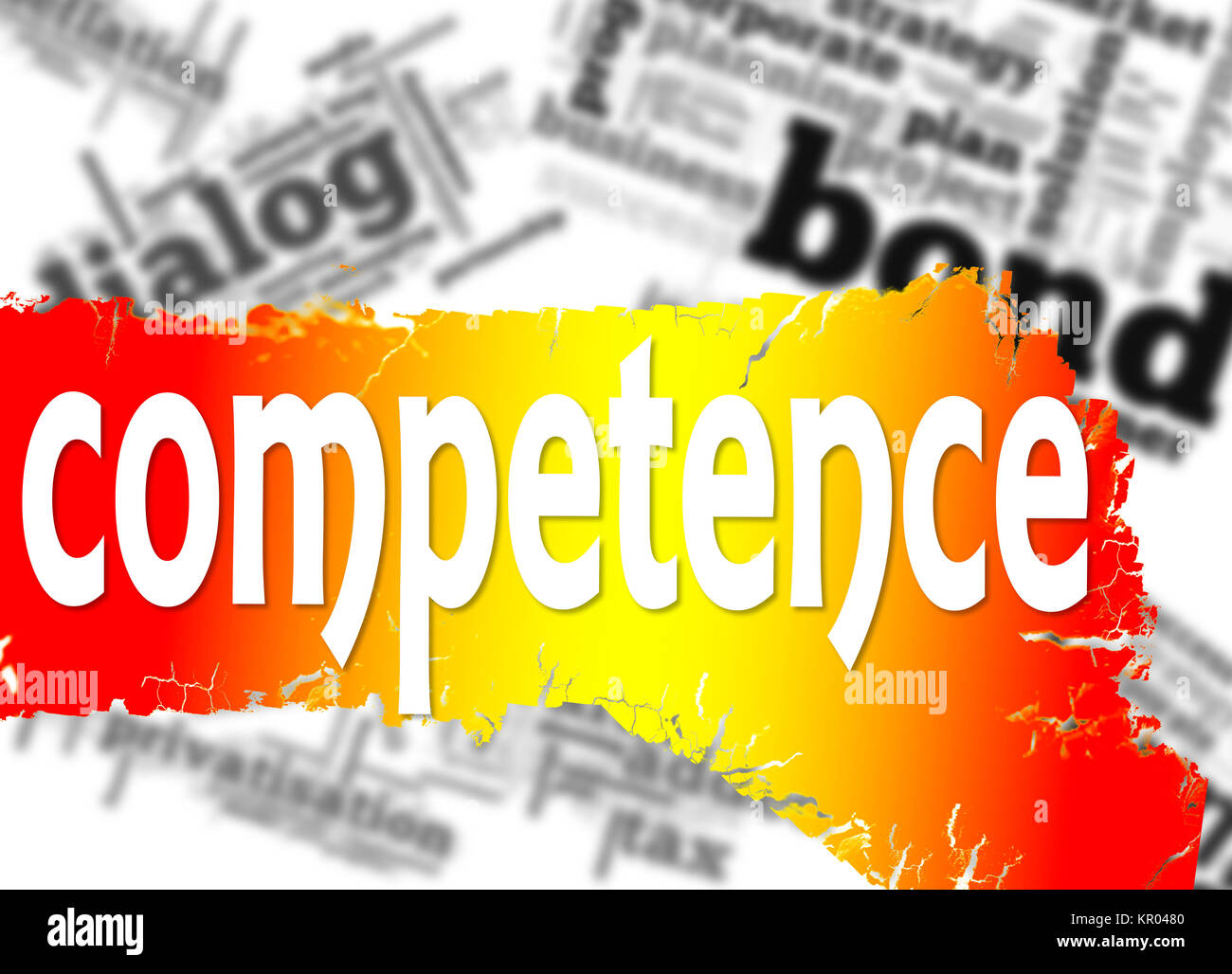 Word cloud with competence word - Stock Image